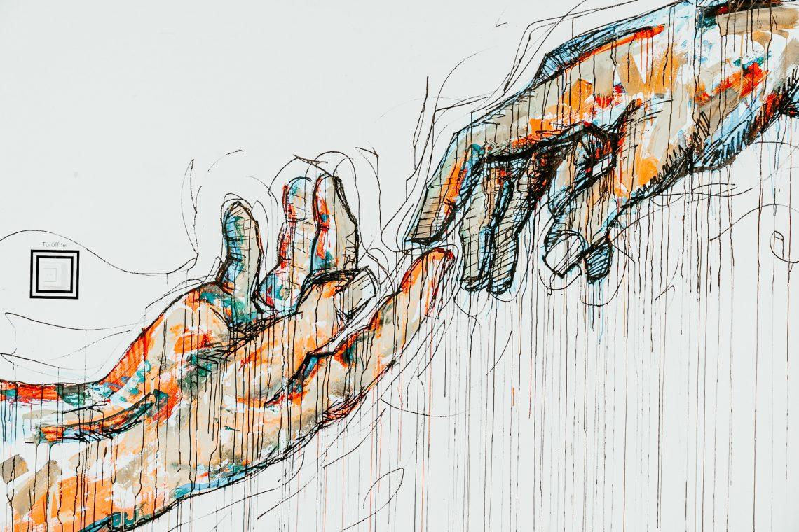 Hände versuchen sich zu berühren - colorierte Zeichnung