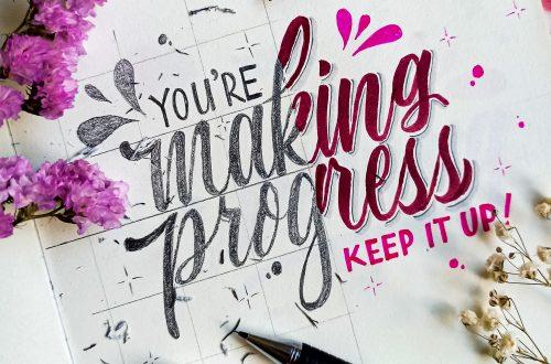 """Schriftzug """"YOU'RE making progress - KEEP IT UP!"""